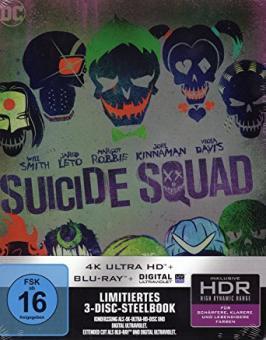 Suicide Squad inkl. Extended Cut (Limited Steelbook, 4K Ultra HD+Blu-ray) (2016) [4K Ultra HD]